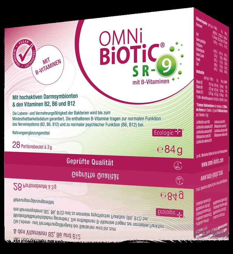 OMNi-BiOTiC® SR-9 mit B-Vitaminen enthält dieselbe spezielle Kombination aus 9 Bakterienstämmen wie OMNi-BiOTiC® SR-9, deren Einsatz in zahlreichen klinischen Studien erfolgt ist.